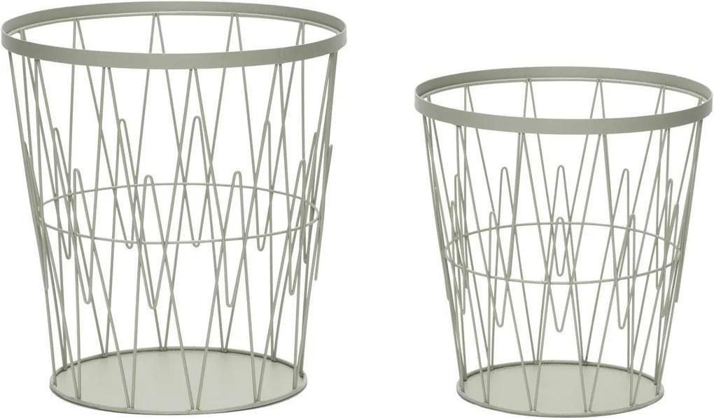 Set Cosuri Metalice pentru Hartie (2 buc) - Metal Verde dia 29 x h30 cm, dia 34 x h36 cm