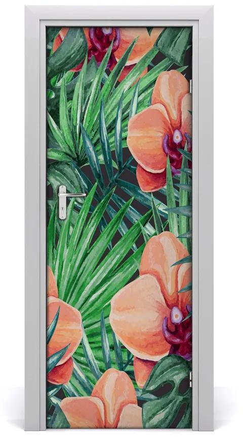 Autocolante pentru usi Orhidee și palmieri