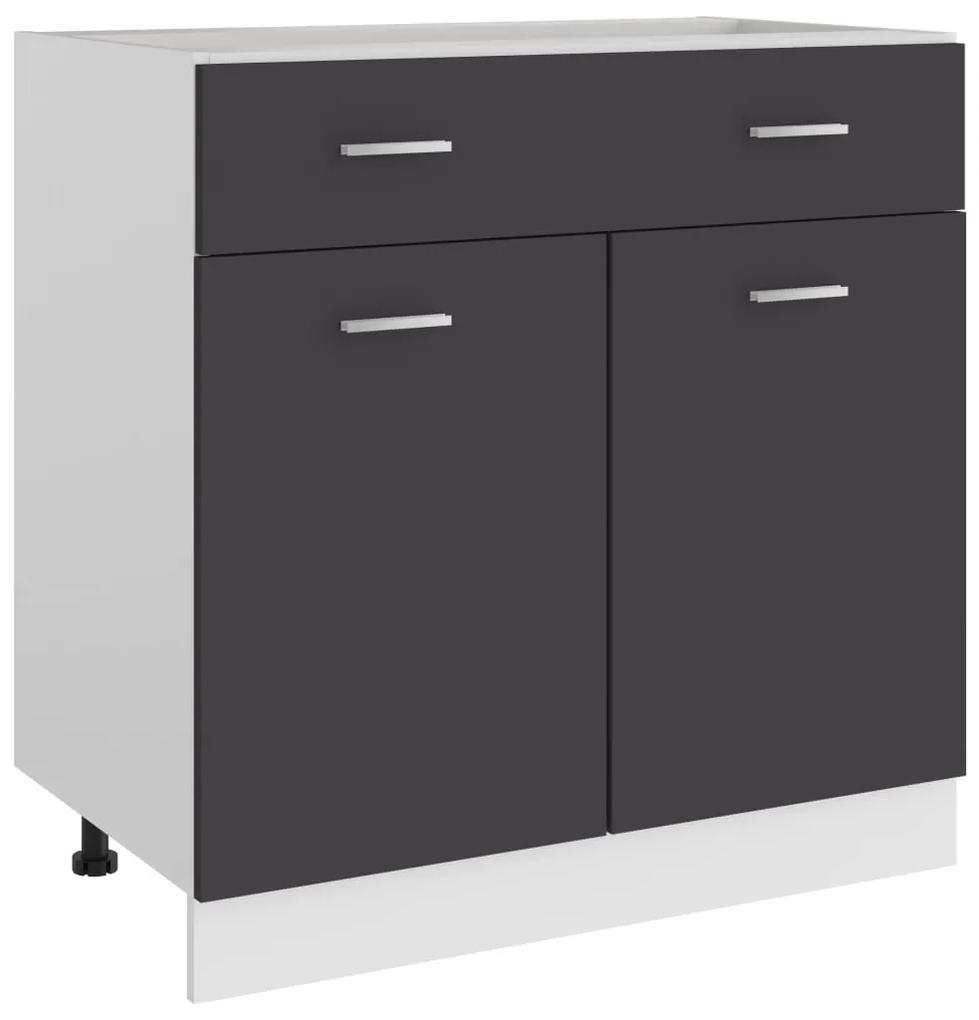 801238 vidaXL Dulap inferior cu sertar, gri, 80 x 46 x 81,5 cm, PAL