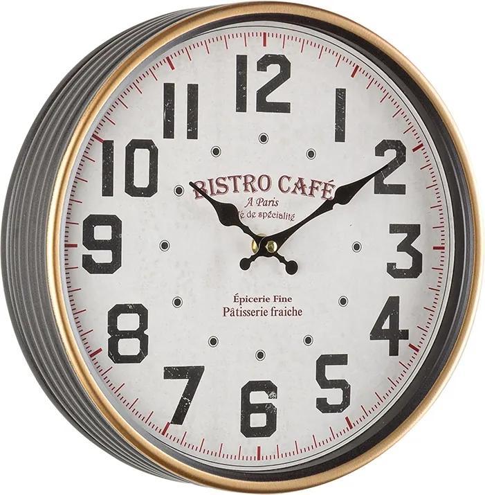 Ceas de perete gri alb auriu model Bistro Cafe Ø 29 cm