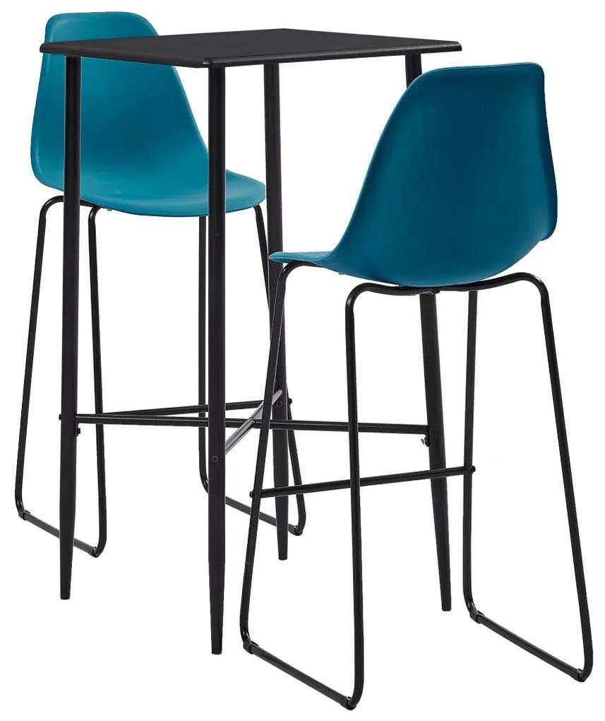 279925 vidaXL Set mobilier de bar, 3 piese, turcoaz, plastic