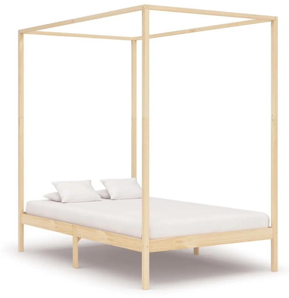 283252 vidaXL Cadru de pat cu baldachin, 120 x 200 cm, lemn masiv de pin