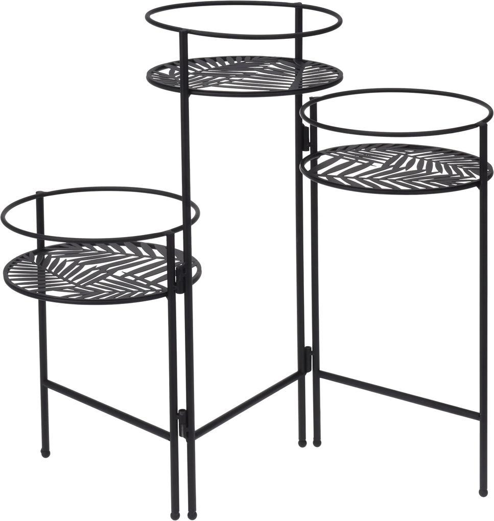 Suport pentru flori din metal cu 3 niveluri, culoare neagră
