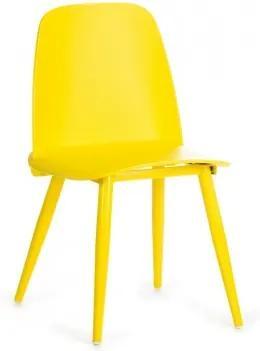 Scaun din plastic, cu picioare metalice Sting Yellow, l50xA46xH80cm