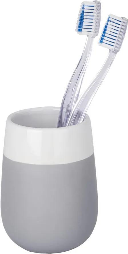 Recipient din ceramică pentru periuțele de dinți Wenko Matta, gri - alb