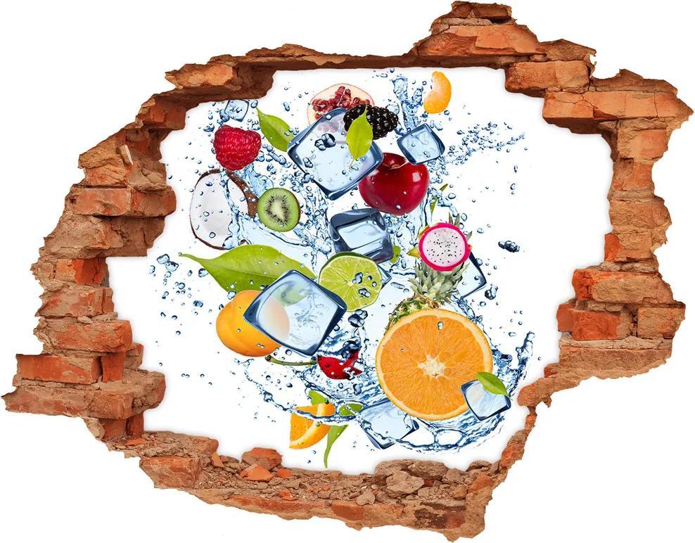 Nálepka diera na stenu betón Ovocie a ľad