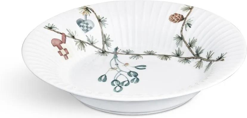 Farfurie din porțelan pentru supă, cu motiv Crăciun Kähler Design Hammershoi, ⌀ 21 cm, alb