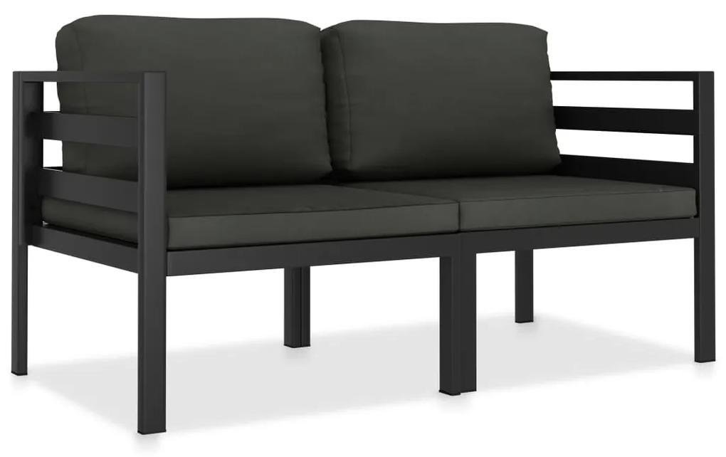 49238 vidaXL Set mobilier de grădină cu perne, 2 piese, antracit, aluminiu
