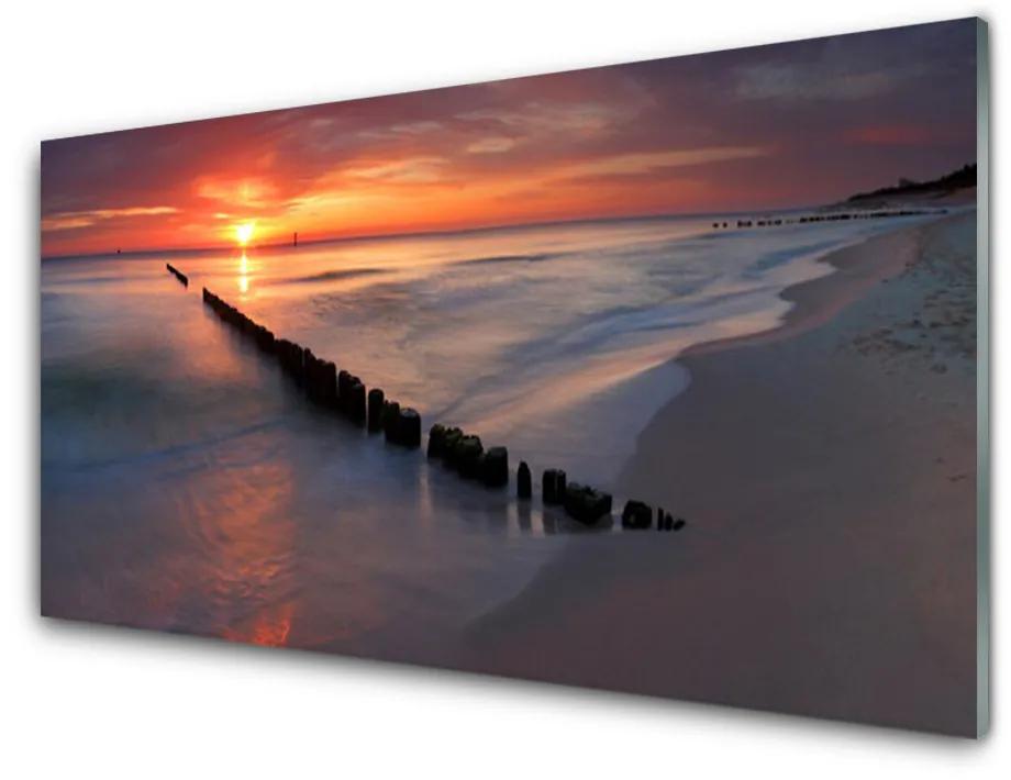 Tablou pe sticla acrilica Sea Beach Peisaj Galben Gri Albastru Maro