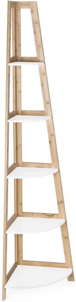 Raft de podea pentru colt cu 5 polite din lemn maro alb Brooklyn 40 cm x 40 cm x 180 h