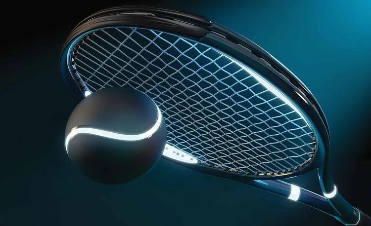 Tennis Racket Ball Neon Fototapet, (104 x 70.5 cm)