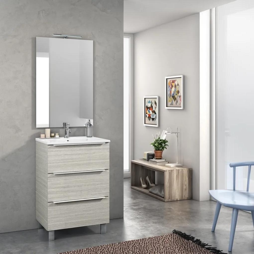 Set de baie cu 4 piese MALMO, Melamina Aluminiu Abs Sticla Ceramica Metal, Crem, 61x46.5x190 cm