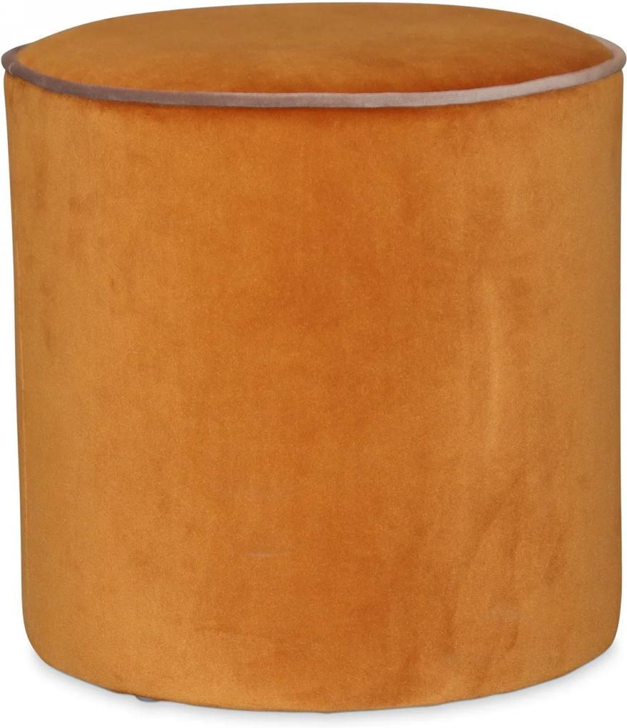 Puf GABRIEL Portocaliu din Catifea 34cm OPJET PARIS - Catifea Portocaliu Diametru (34cm) x Inaltime (36cm)