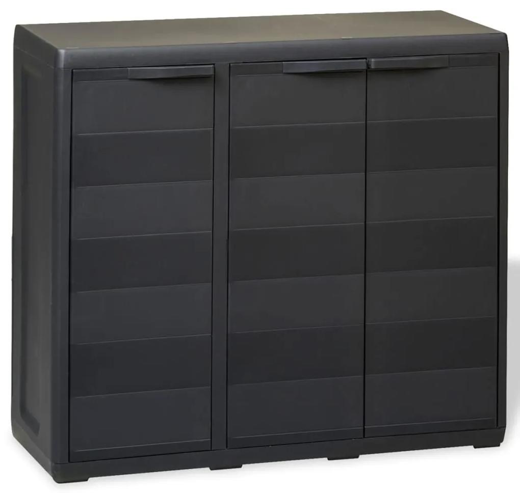 43704 vidaXL Dulap de depozitare pentru grădină, cu 2 rafturi, negru