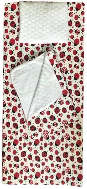Deseda - Set 3 piese de iarna paturica cu cearsaf si pernuta pentru pat 120x60 cm  Buburuze rosunegru