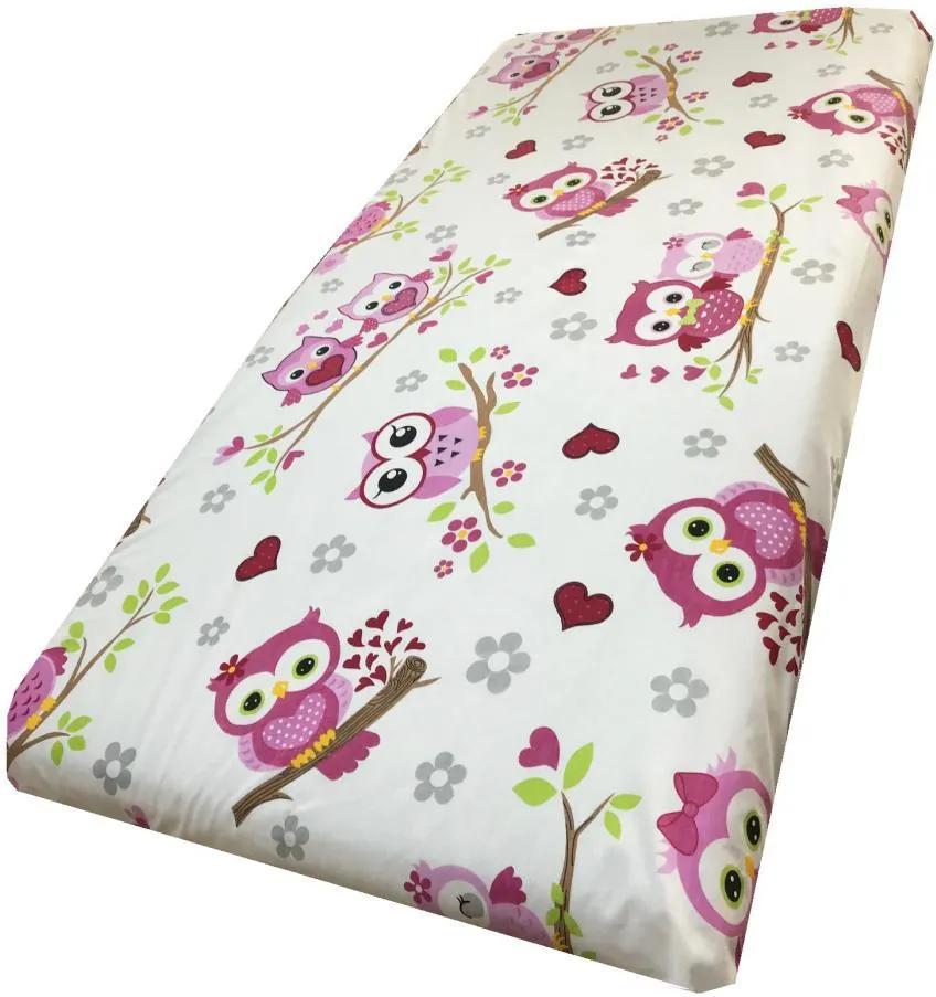 Cearsaf cu elastic pe colt 140x70 cm Bufnite indragostite cu roz