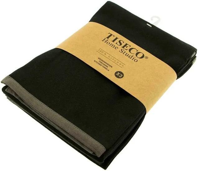 Set 3 prosoape de bumbac Tiseco Home Studio, 50 x 70 cm, negru