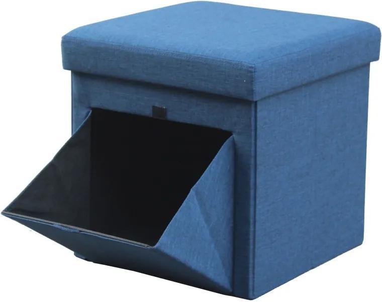 Taburet Textil cu Spatiu Depozitare, 38 x 38 cm,albastru