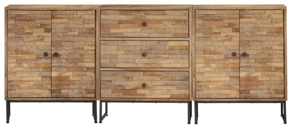 275656 vidaXL Set de servante, 3 piese, lemn de tec reciclat