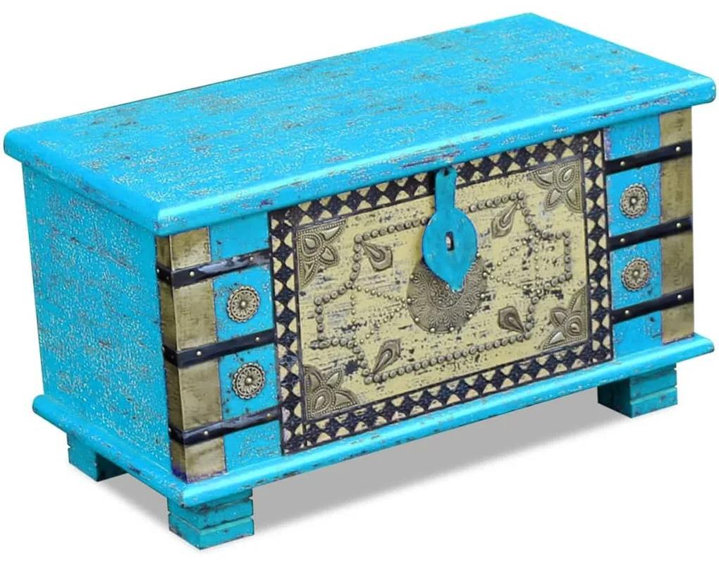 243332 vidaXL Cufăr din lemn de mango, 80x40x45 cm, albastru