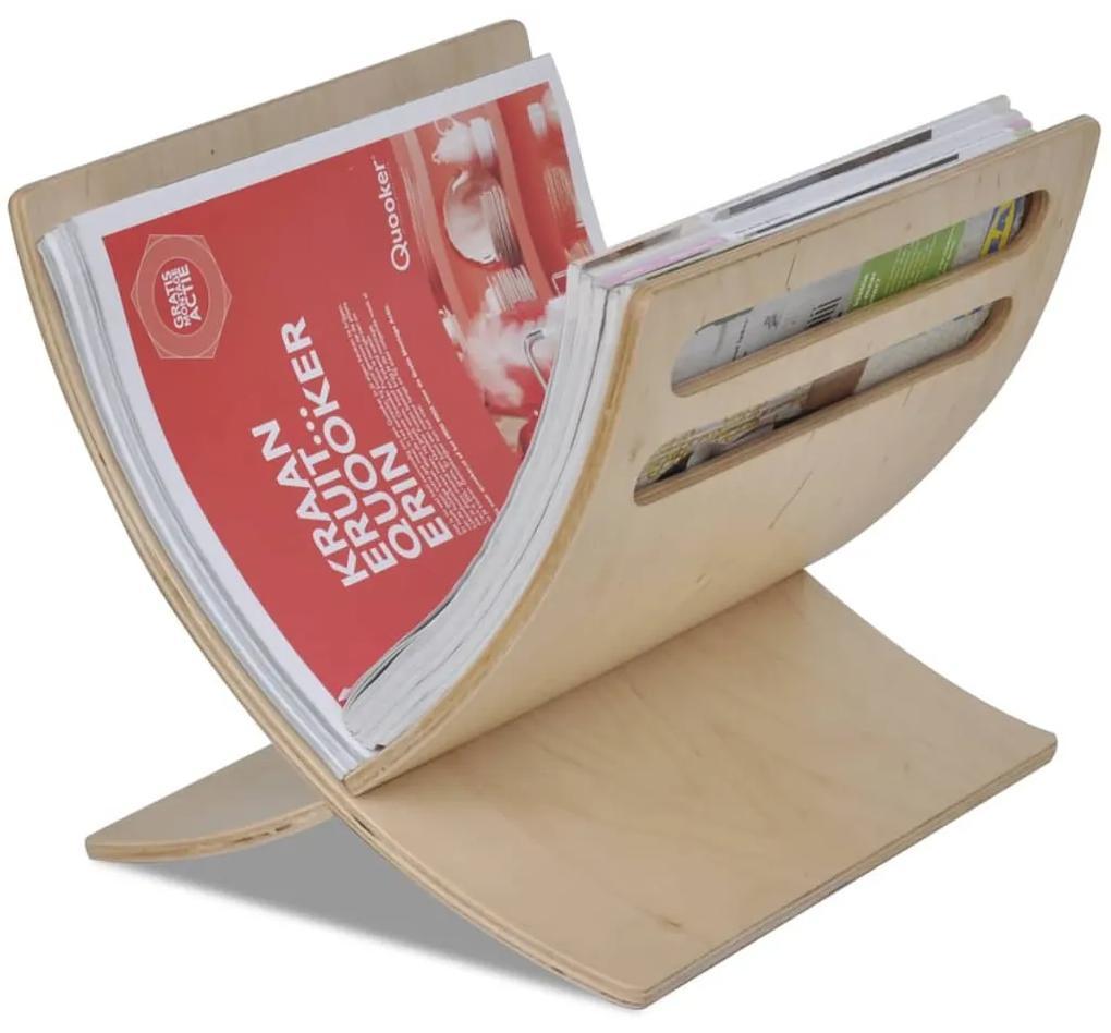 241217 vidaXL Suport din lemn pentru reviste, vertical, natural