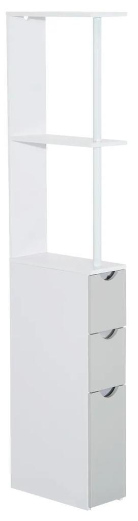 HomCom Mobilier Coloana pentru Baie in Lemn, Alb si Gri, 15x33x140cm