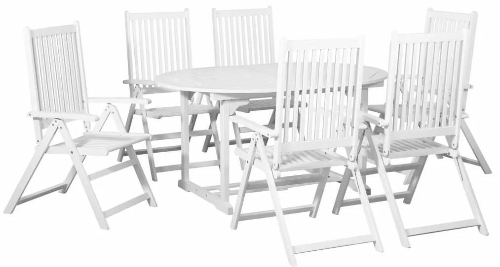 44060 vidaXL Set mobilier de exterior, masă extensibilă, 7 piese, alb, lemn