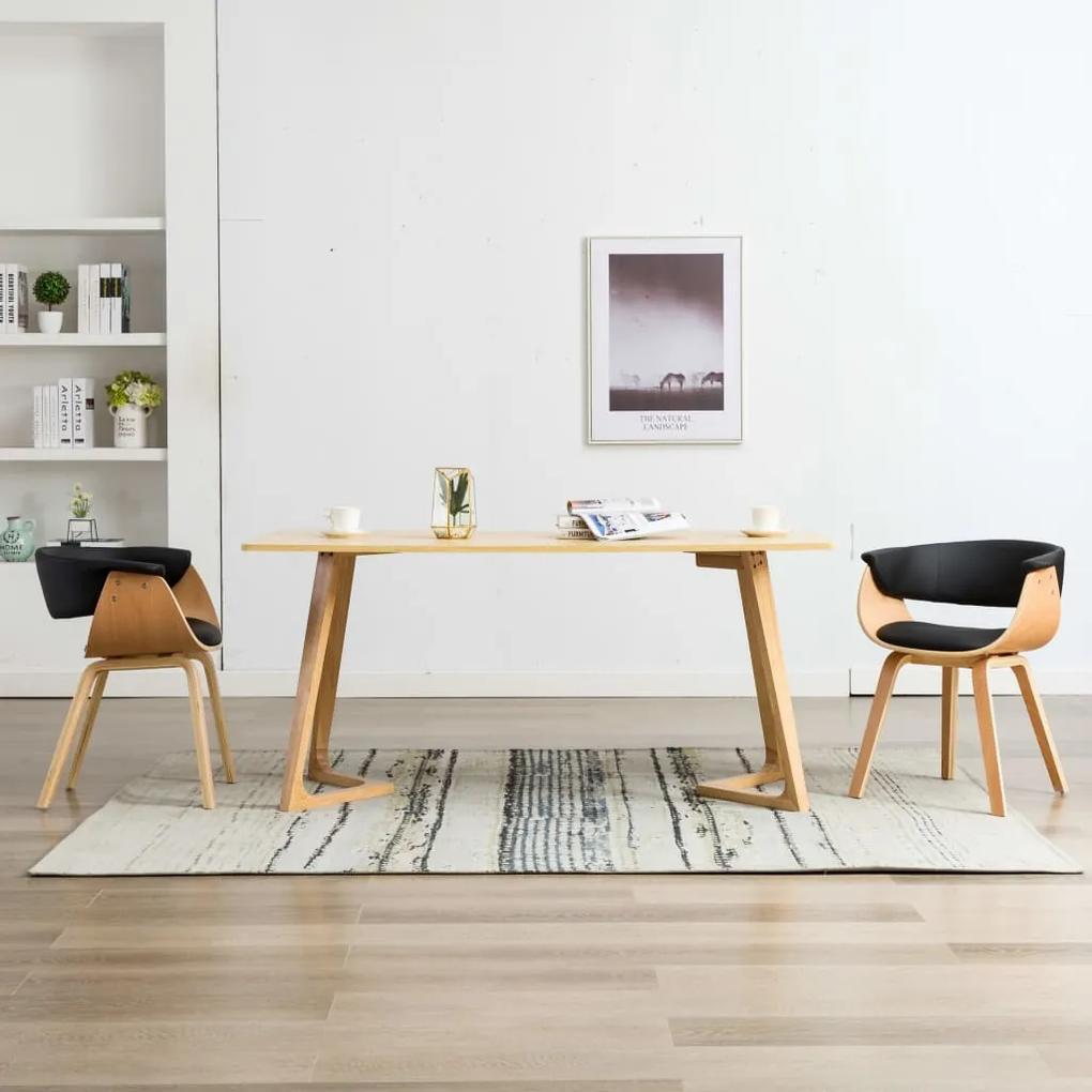 278733 vidaXL Scaune de bucătărie, 2 buc, negru lemn curbat & piele ecologică