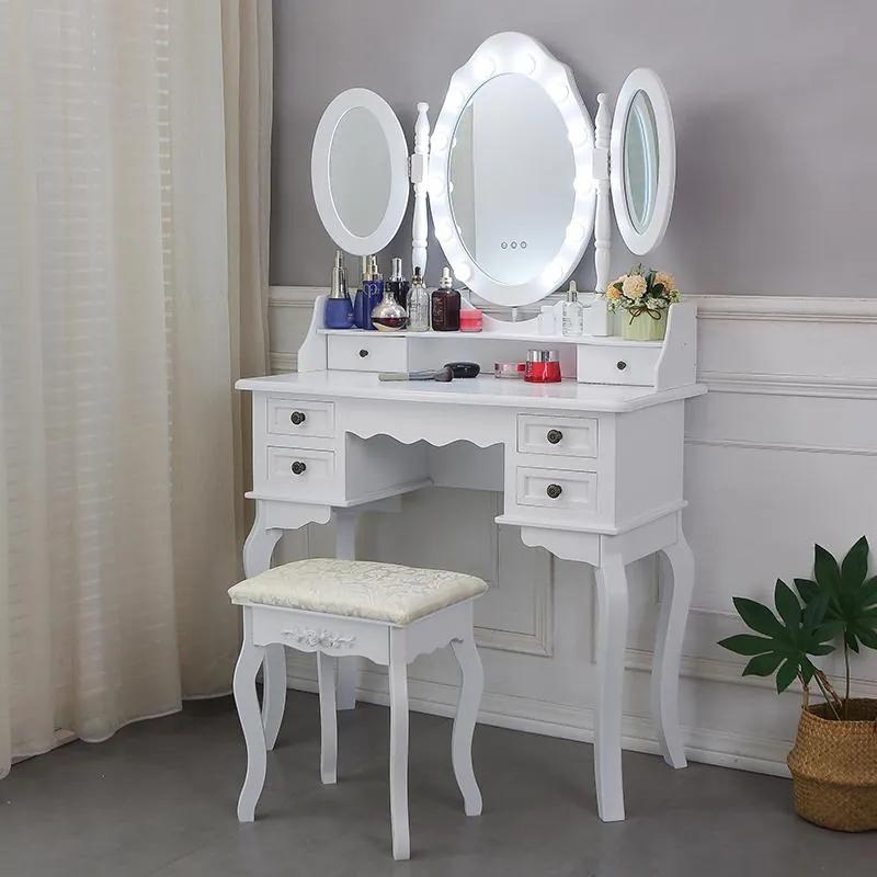Set Josefina, Masă de toaletă cu 3 oglinzi, iluminare LED, control touch, 6 sertare, scaun, Alb