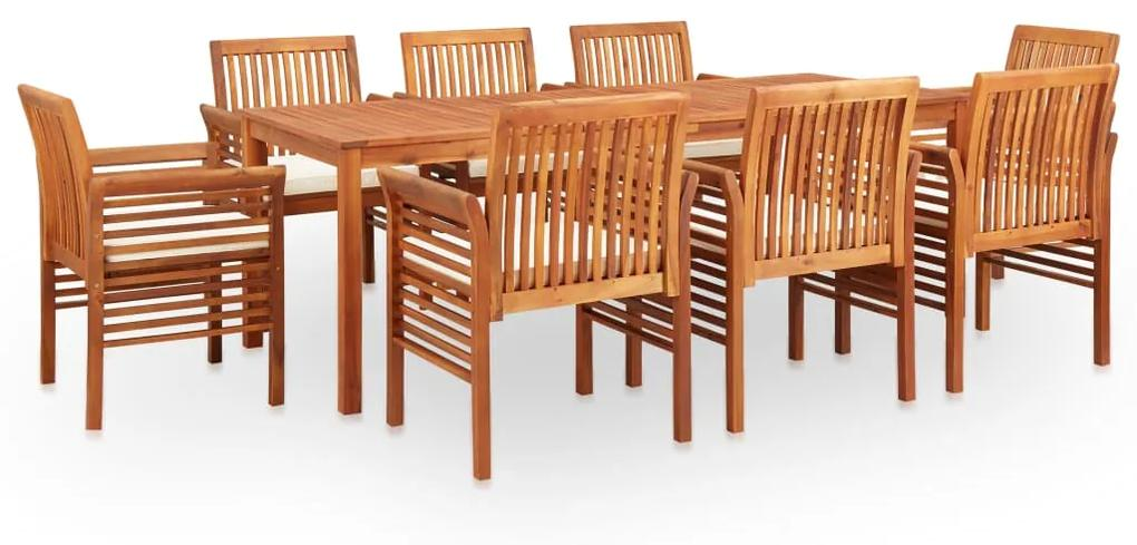 278900 vidaXL Set mobilier de exterior cu perne 9 piese lemn masiv de acacia