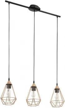 Pendul Eglo Trend Tarbes 3x60W, L 79cm, h 110cm, Negru - Cupru