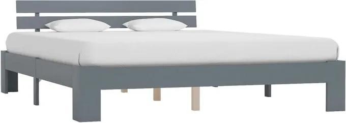 Cadru de pat Aarush, lemn masiv, gri, 165 x 213 cm