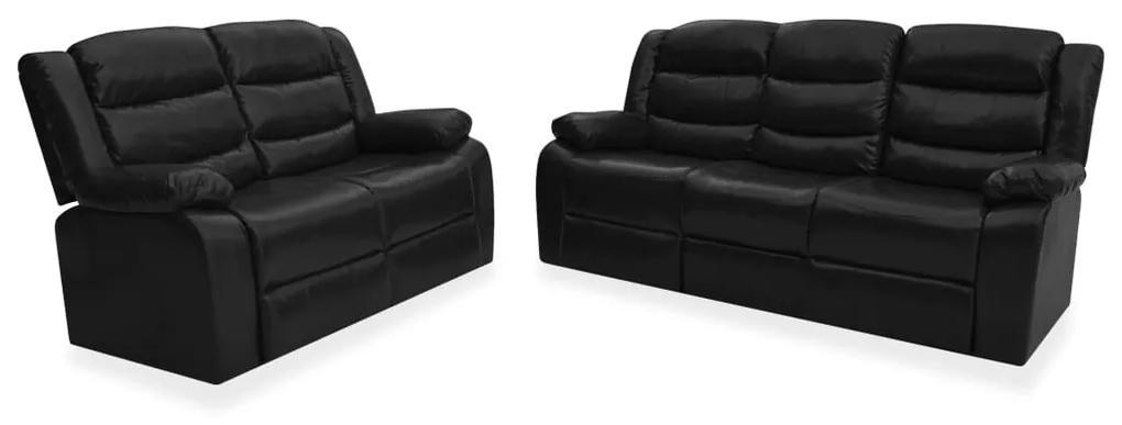 3055332 vidaXL Set canapea rabatabilă, 2 piese, negru, piele ecologică