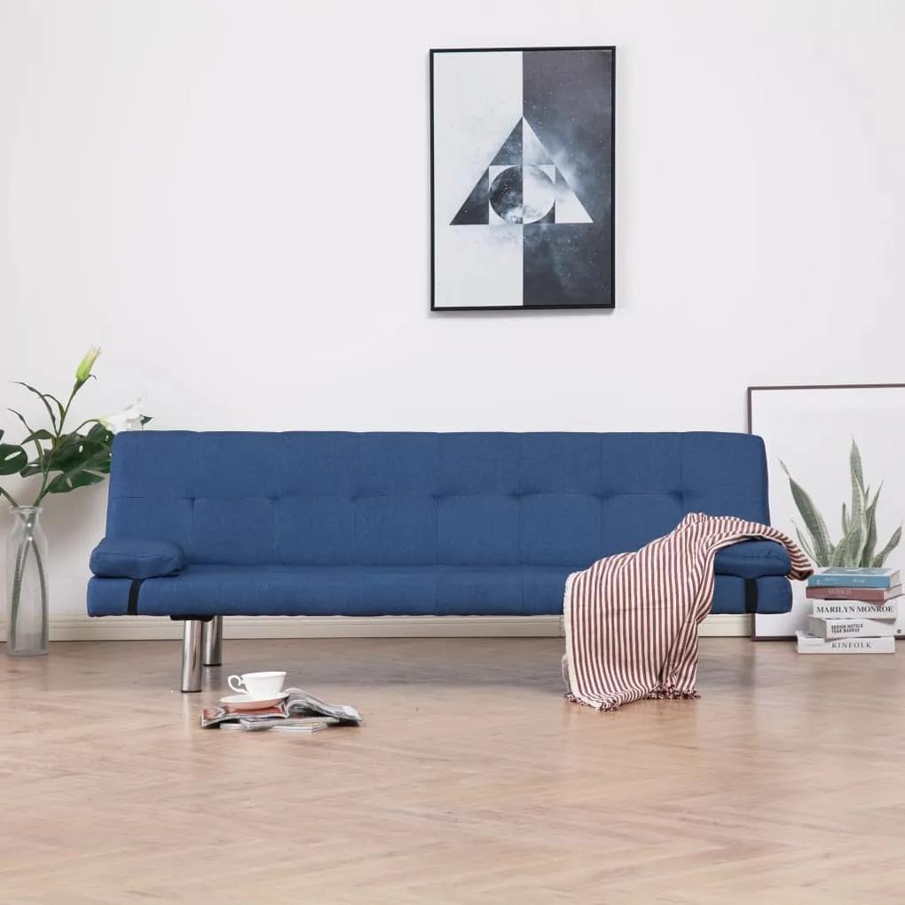 282187 vidaXL Canapea extensibilă cu două perne, albastru, poliester
