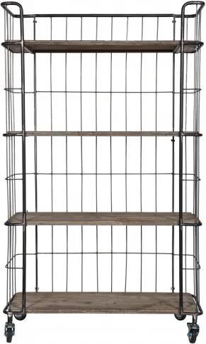 Carucior pentru servire din metal Gijs, 158,5x94x41 cm, argintiu