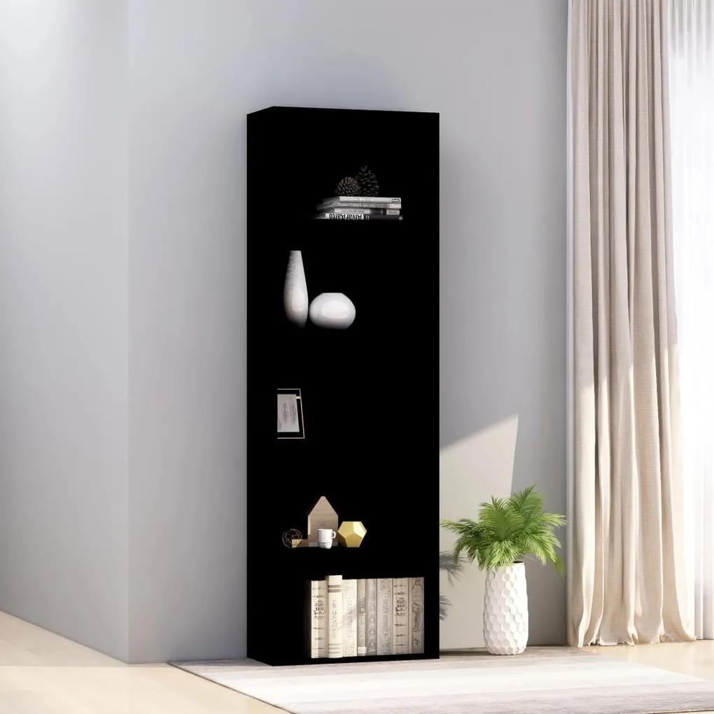 800991 vidaXL Bibliotecă cu 5 rafturi, negru, 60 x 30 x 189 cm, PAL