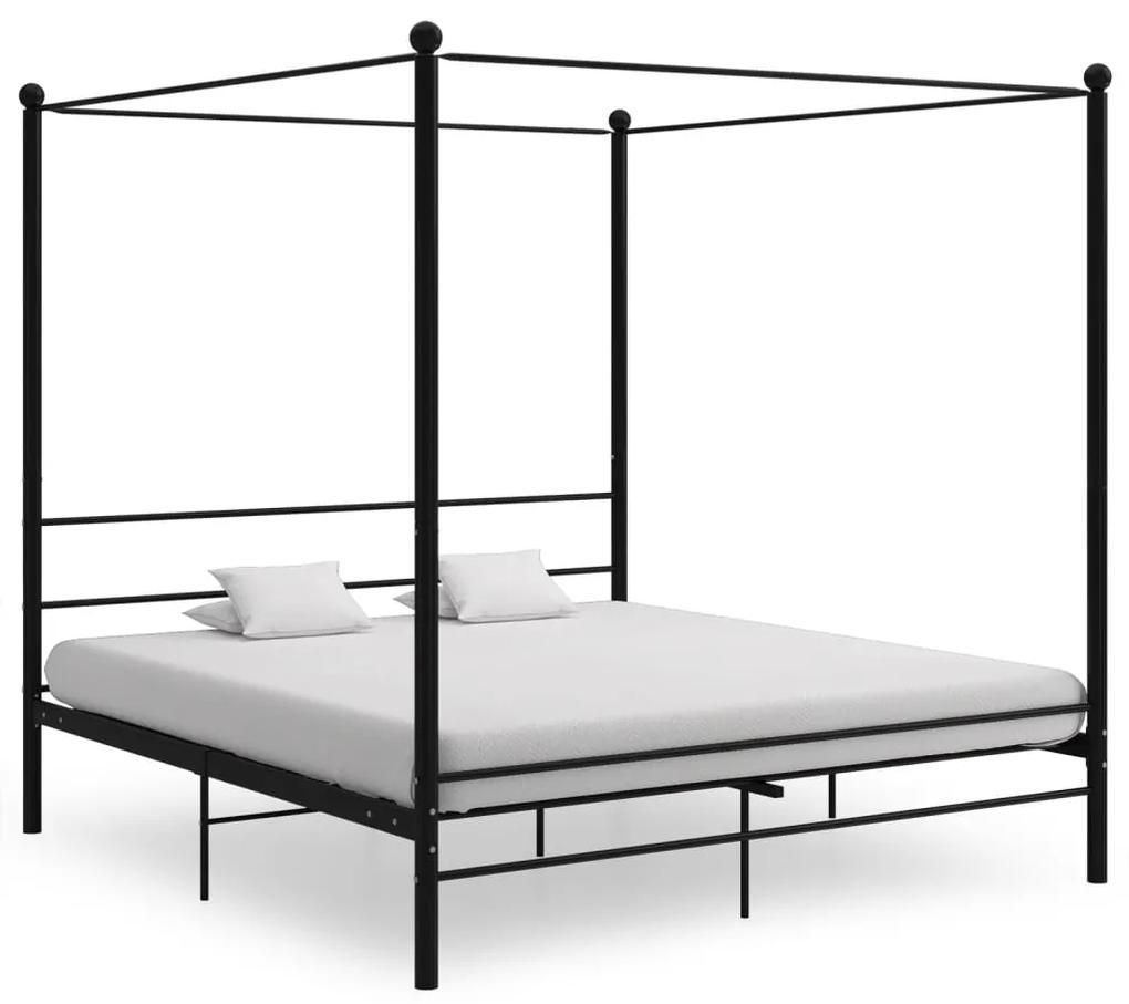 325066 vidaXL Cadru de pat cu baldachin, negru, 180x200 cm, metal