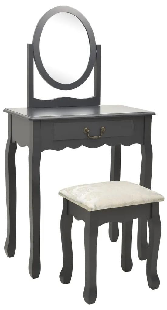 289333 vidaXL Masă toaletă cu taburet, gri, 65x36x128 cm, lemn paulownia, MDF