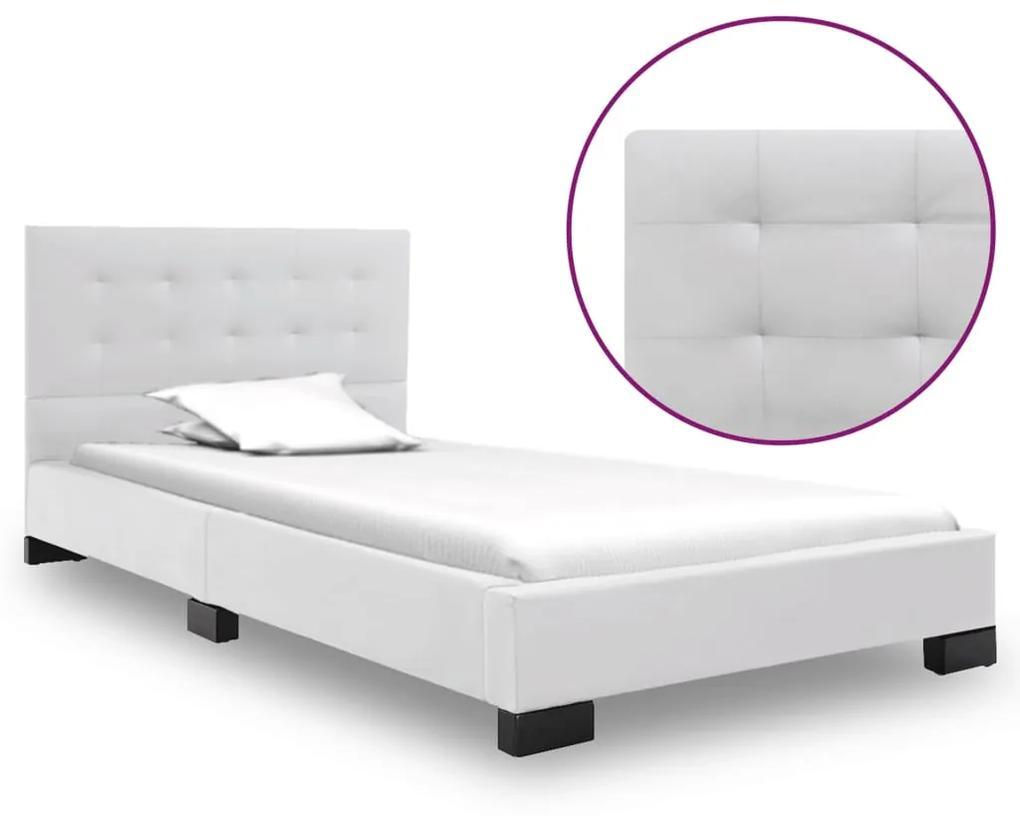 280633 vidaXL Cadru de pat, alb, 120 x 200 cm, piele artificială