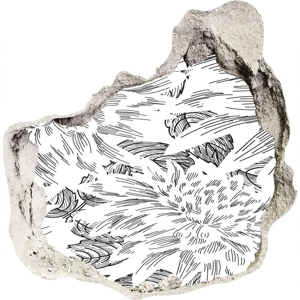 Fototapet 3D gaură în perete Model floral