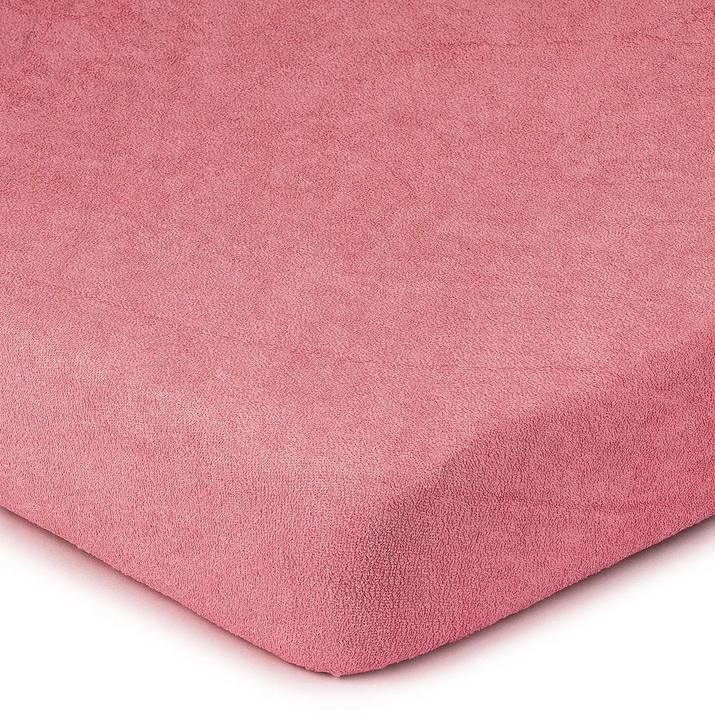 Cearșaf de pat 4Home din frotir, roz, 160 x 200 cm, 160 x 200 cm
