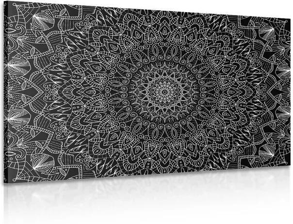 Tablou Mandala decorativă detaliată în design alb-negru