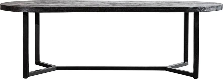 Masa ovala cu blat din lemn de stejar Steven 300x100x76 cm neagra