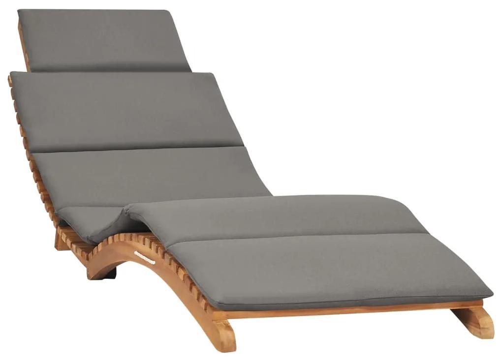 310668 vidaXL Șezlong pliabil cu pernă gri închis, lemn masiv tec