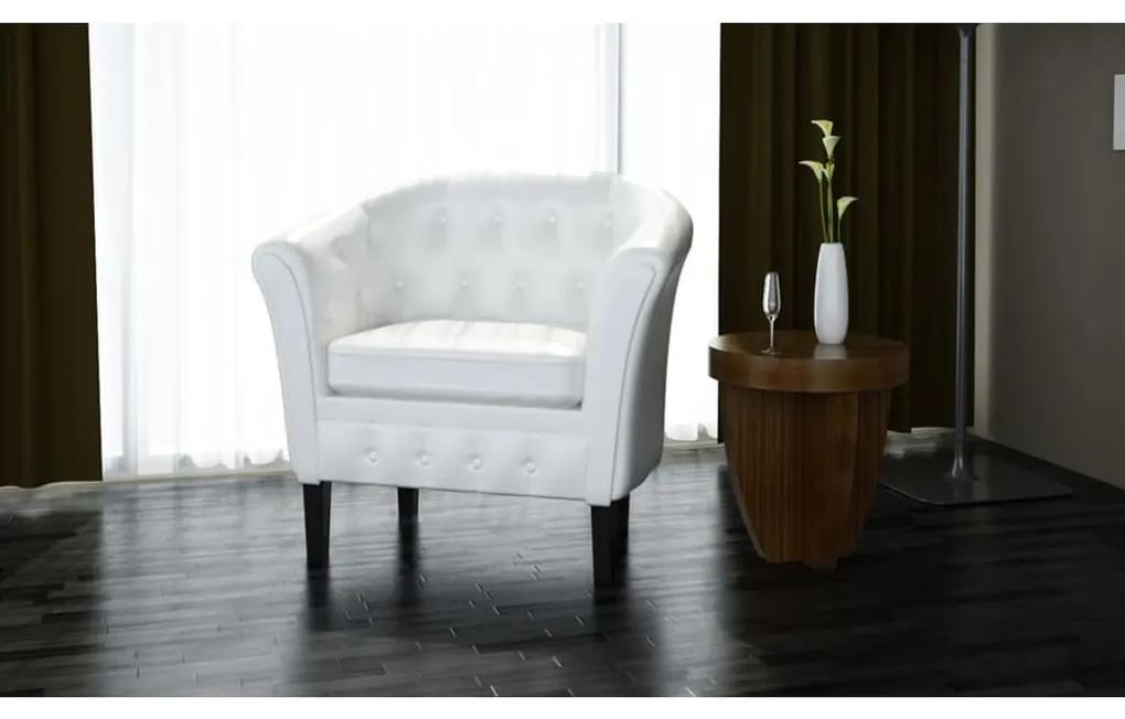 60710 vidaXL Fotoliu, alb, piele ecologică