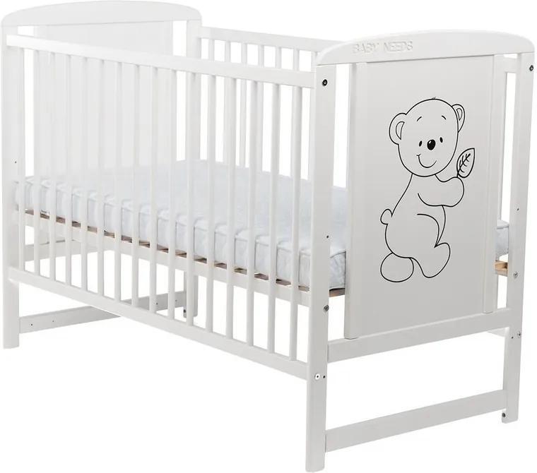 BabyNeeds - Patut din lemn Timmi 120x60 cm, Alb