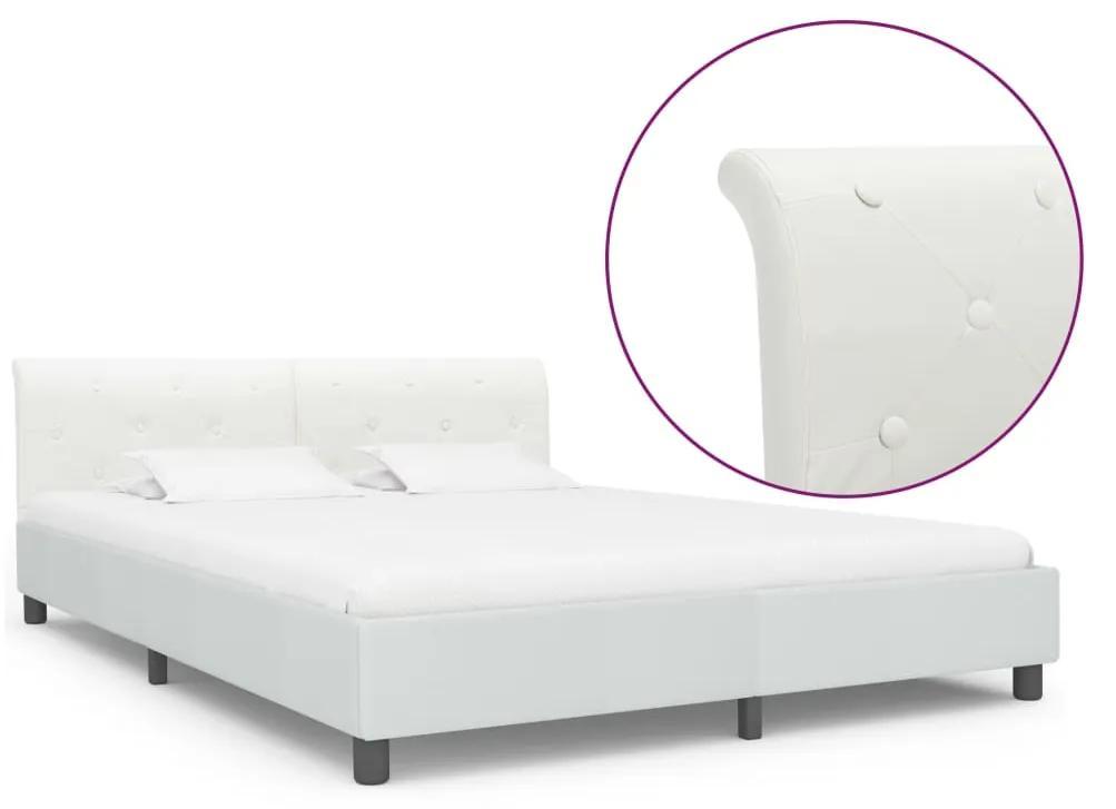 284875 vidaXL Cadru de pat, alb, 180 x 200 cm, piele ecologică