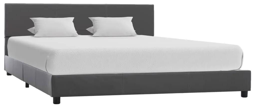 284776 vidaXL Cadru de pat, gri, 120 x 200 cm, piele ecologică