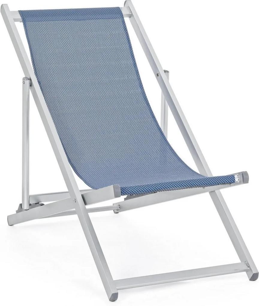 Scaun pliabil cu cadru aluminium sezut albastru Cross 57 cm x 106 cm x 86 h x 33 h1