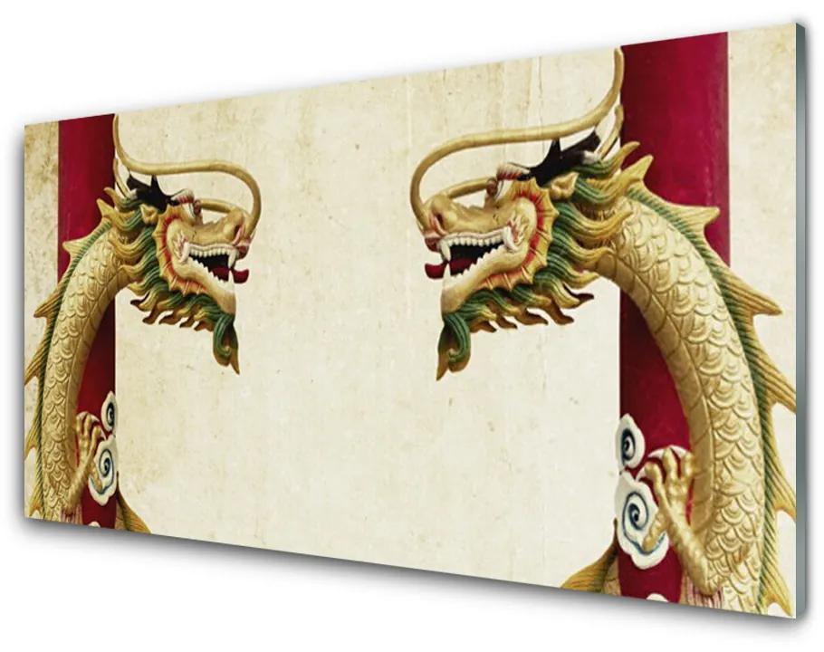 Tablou pe sticla acrilica Dragon Art Verde Roșu